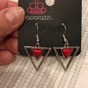 Paparazzi Silver/Red Triangular Fishhook Earrings